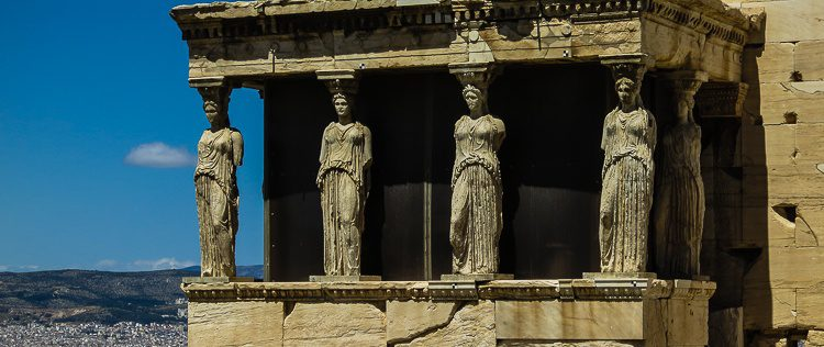 A closer peek at the Caryatid Porch of the Erechtheion at the Acropolis in Athens, Greece.