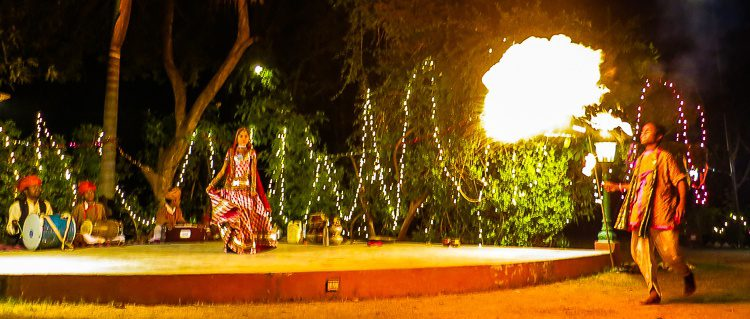 The dancers in Jaipur started blowing fire!