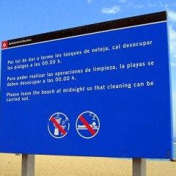 A Sign on a Barcelona Beach that Made Me Smile