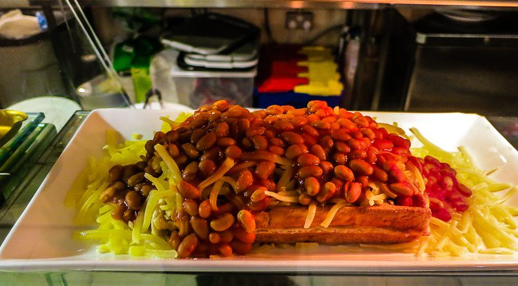 "Find a place called ""Wonder Waffle"" and consider ordering a bean waffle."
