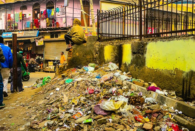 A pile of trash greeted our entrance to the Paharganj neighborhood of Central Delhi, India.