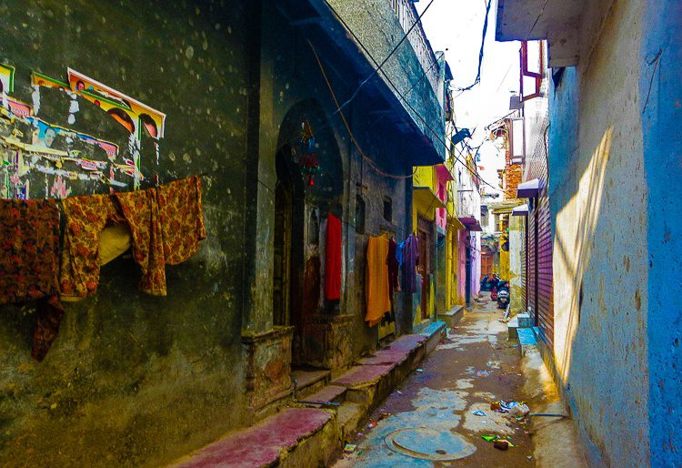 Pulsating colors of saris drying in the narrow streets of Paharganj, Central Delhi.