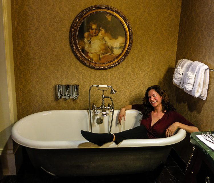 Luxuriating in the giant bathtub in our Hotel Viking room.