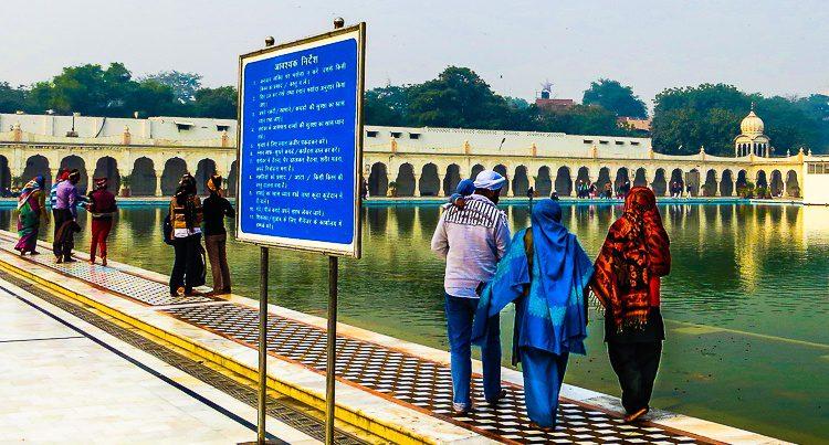 All backgrounds of people visit Gurudwara Bangla Sahib Sikh temple.