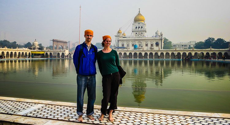 At Gurudwara Bangla Sahib, the biggest Sikh place of worship in New Delhi, India.