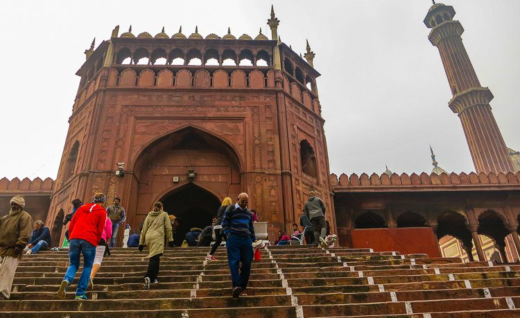Walking up the stairs to majestic Jama Masjid mosque.