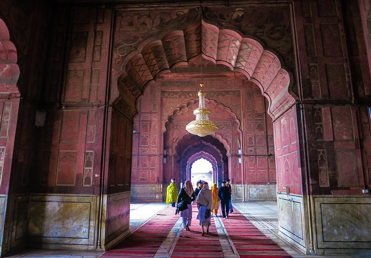 The inner halls of Jama Masjid mosque are stunning.