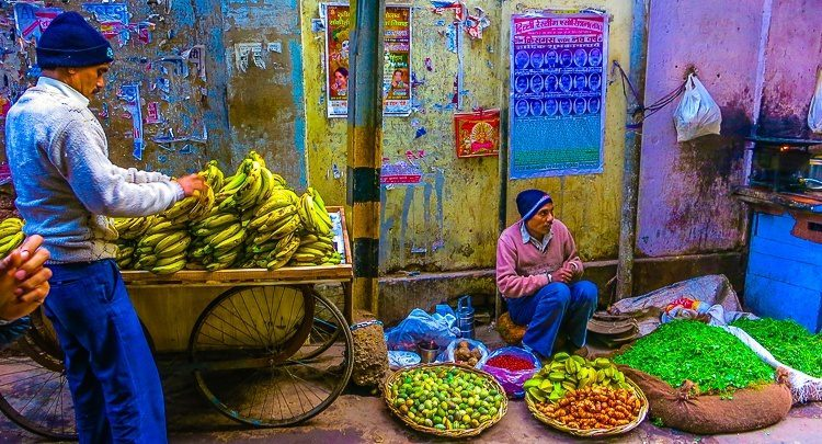 Vendors of luscious produce line the dusty streets of Old Delhi.