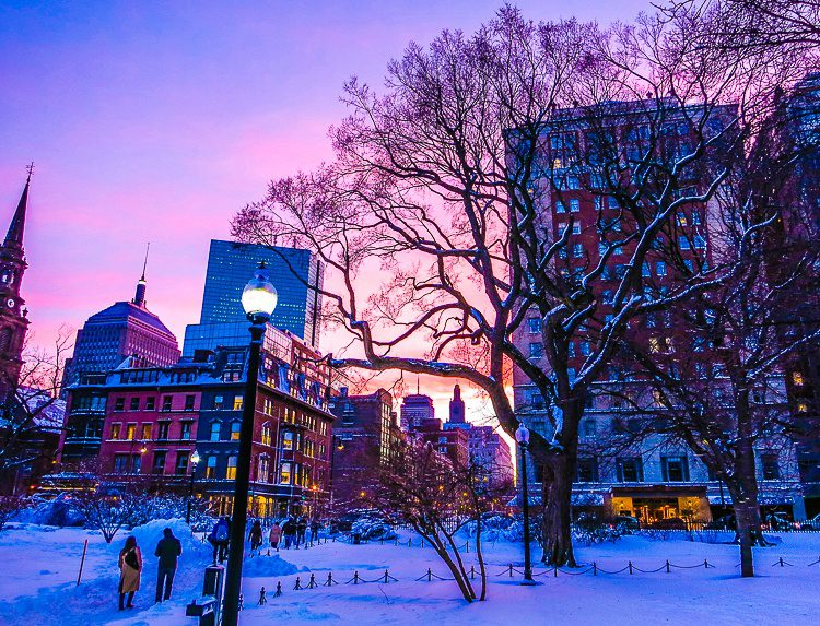 Boston at sunset in winter
