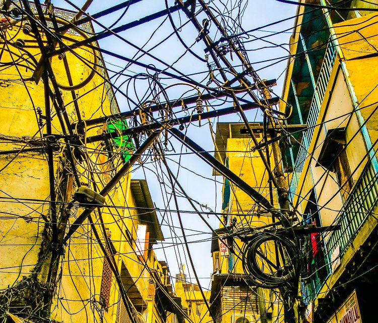 The snarled tangle of electrical wires in Old Delhi astounds.