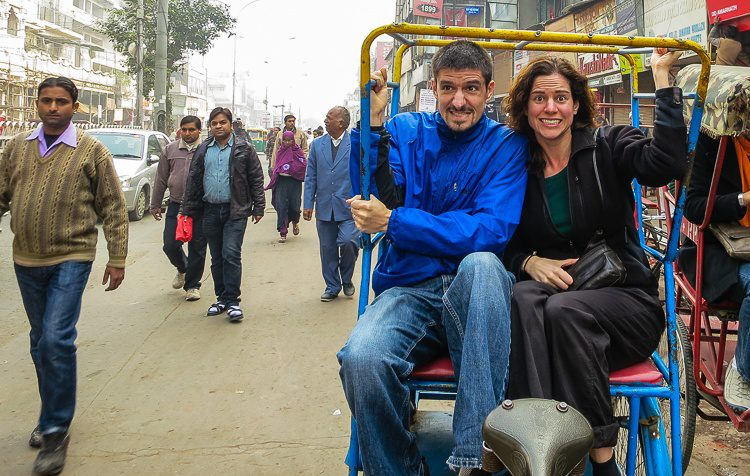 About to start a harrowing yet fabulous bicycle rickshaw tour of Old Delhi, India!