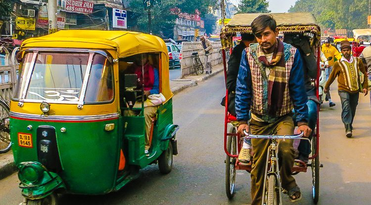 The bicycle rickshaw drivers in India have such style!