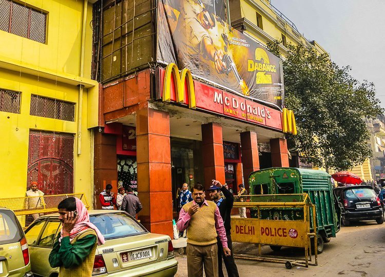 Aww, McDonald's is even in Old Delhi. But touting a Bollywood movie!
