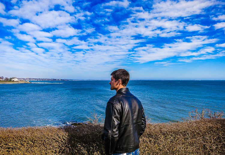 Colin gazing at the ocean separating us from Europe.