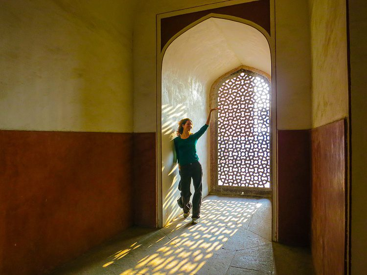 The inside of Humayun's Tomb has lovely pattered windows.