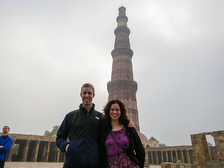 Me and my little brother in front of the world's tallest brick minaret.