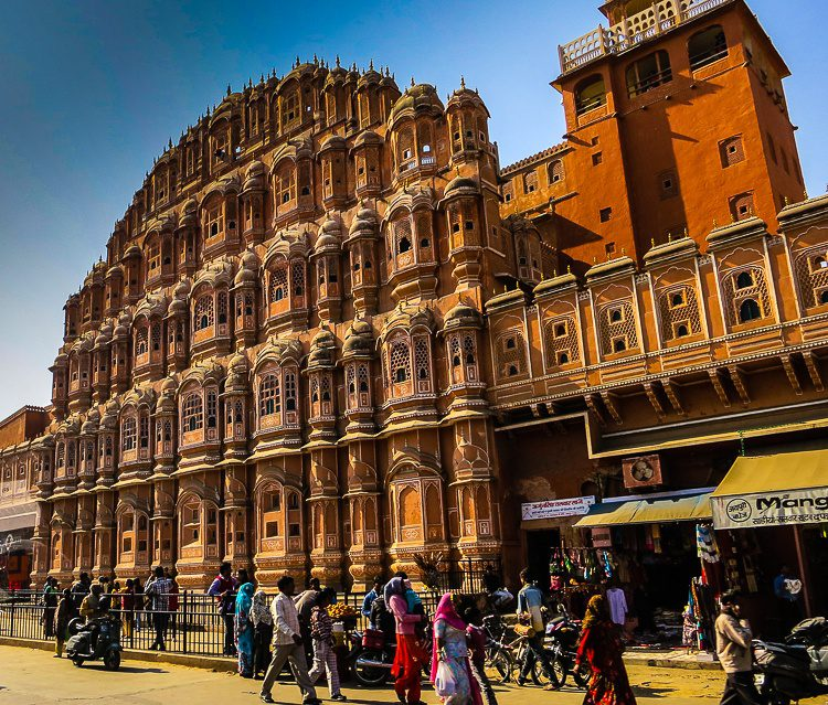 The beautiful Palace of Winds in Jaipur.