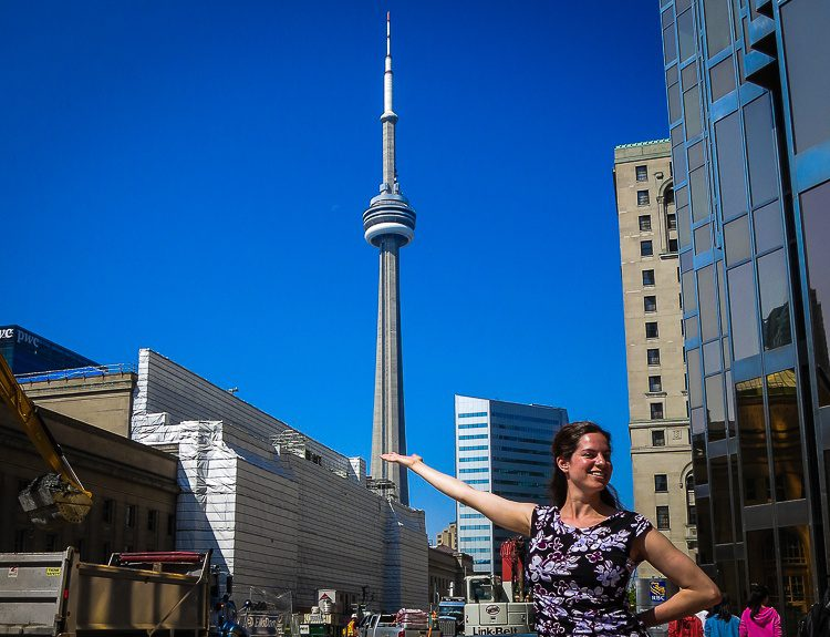 Toronto's famed CN Tower, framed by the passionate construction bubbling through the city.
