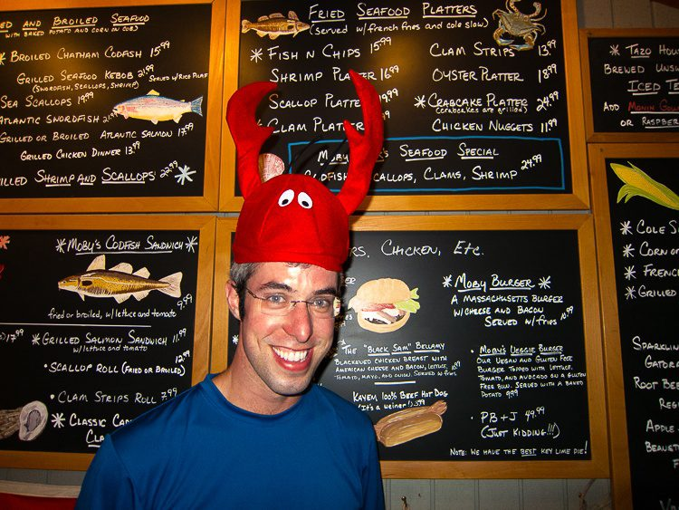 "My ""little"" brother disguised as a lobster. For a laugh, look to the lower right of the menu..."