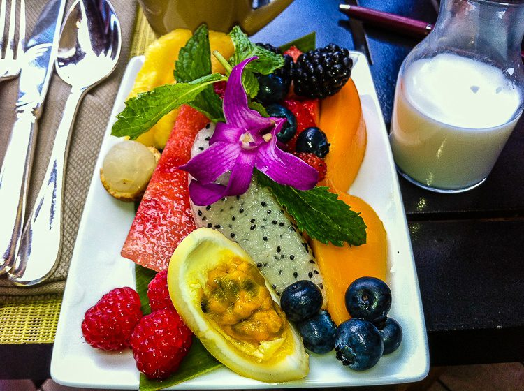 The stunning fruit plate that greeted us at breakfast.