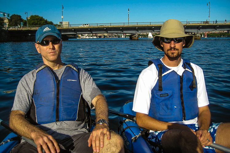 Colin and Richard looked very manly with their protective sun and kayak gear.