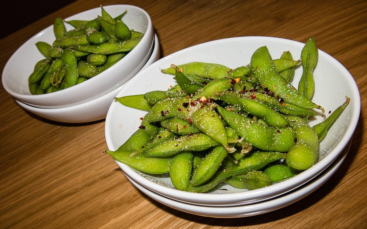 Edamame in its emerald green, healthy glory.