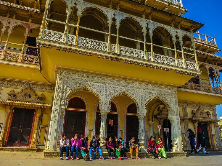 Indian schoolgirls at another set of doorways.