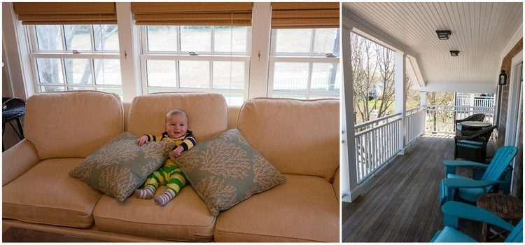 The cozy couch and sunny front porch.
