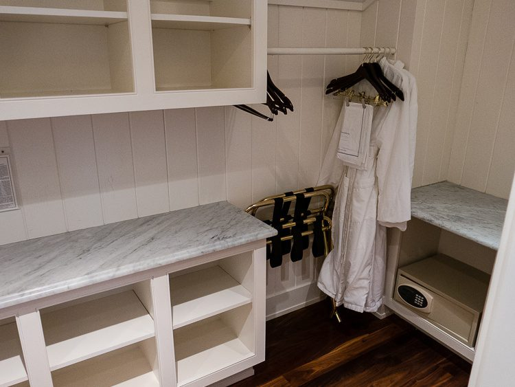 The walk-in closet contains two of the softest bathrobes ever...