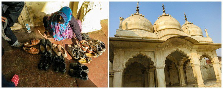 Remove your shoes before entering the smooth white mosque.