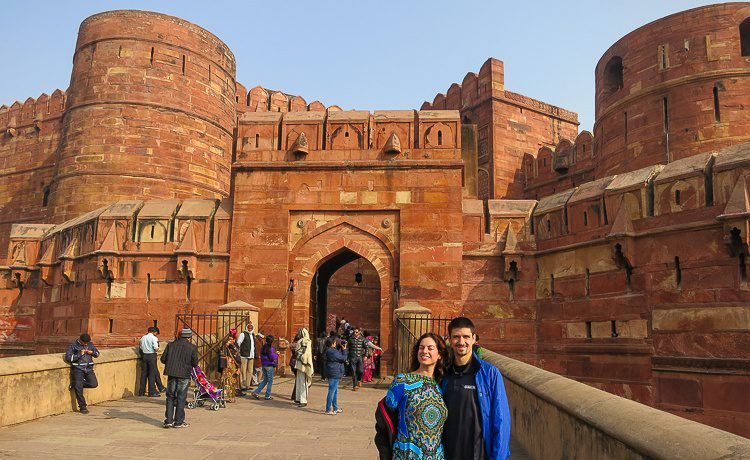 Posing outside the hulking entrance to the fort.