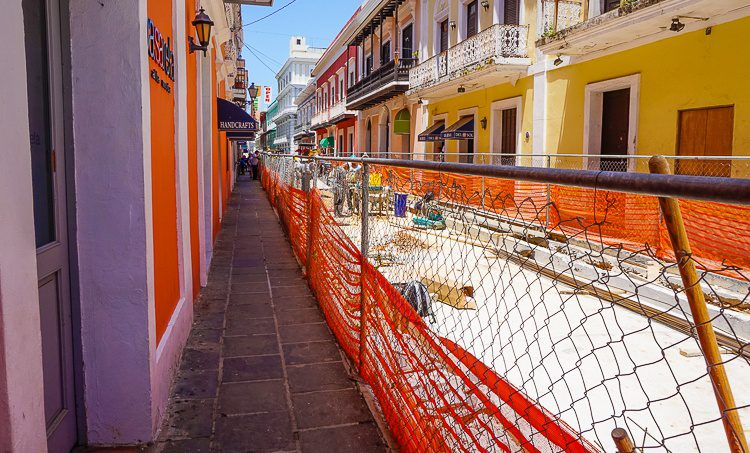 The bright orange of the construction fence fits right into the colors of Old San Juan.