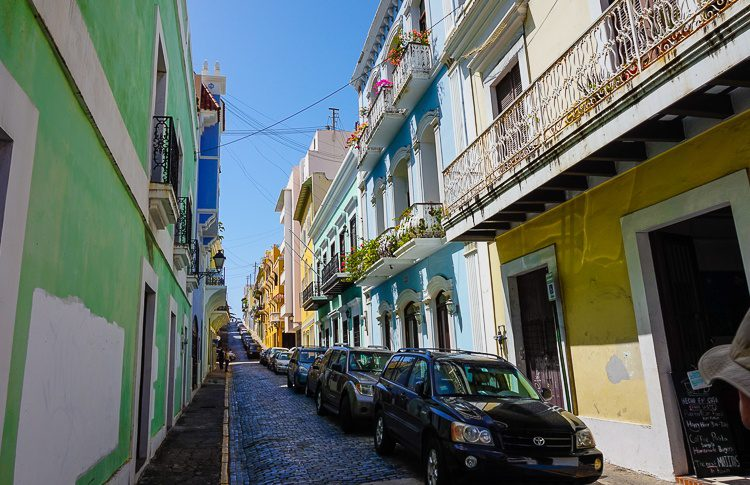 Old San Juan street: See the blue cobblestones and the upward swoop of the street?
