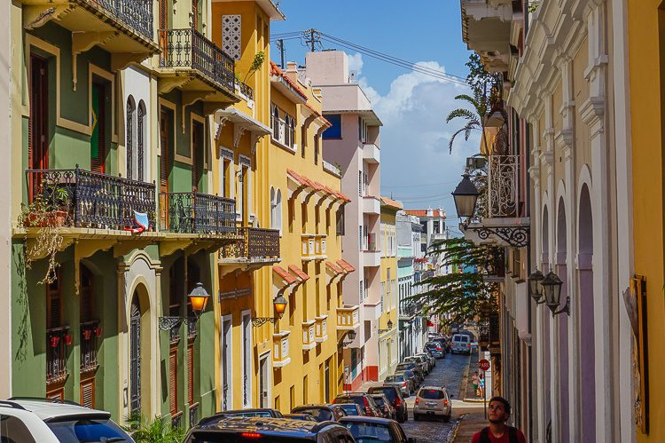 Old San Juan is surrounded by water, and from certain streets you can see the ocean at the end.