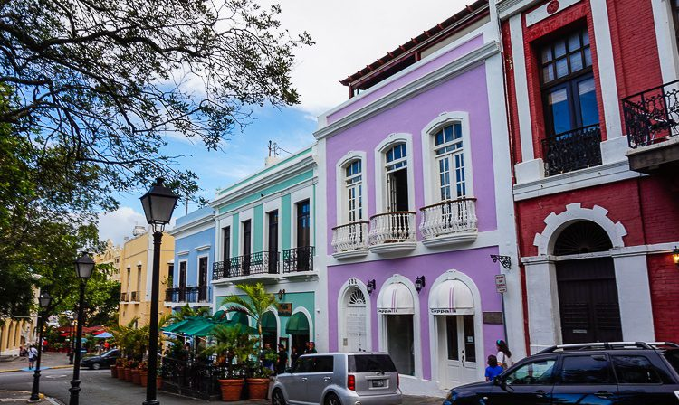 Old San Juan Puerto Rico: Purple, blue, and red houses