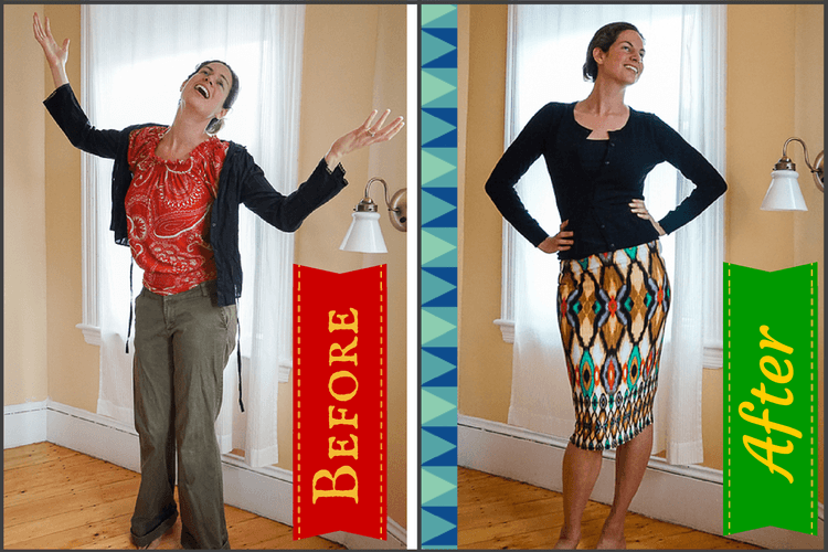 BEFORE: Baggy, worn out clothes that didn't match. AFTER: Flattering fit and color combos.