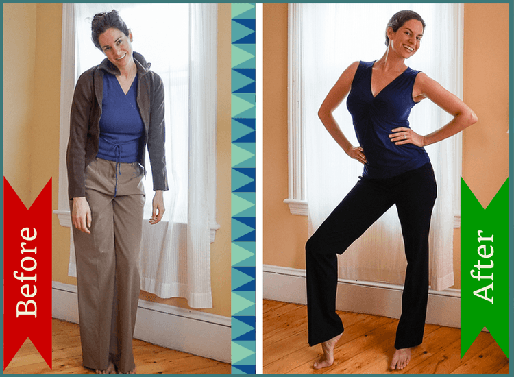 BEFORE: Decade-old, loose, drab clothes. AFTER: Crisp, modern cuts and a better fit!