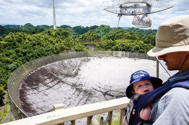 Arecibo Observatory, Puerto Rico with a baby