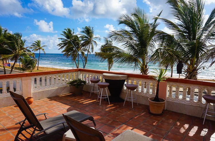 The oceanfront breakfast balcony in this lovely Luquillo hotel.