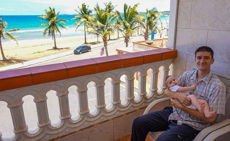Colin and Devi greatly enjoyed our seaside balcony.