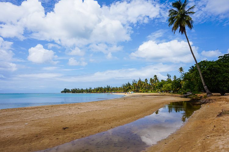The tranquil swimming beach in Luquillo.