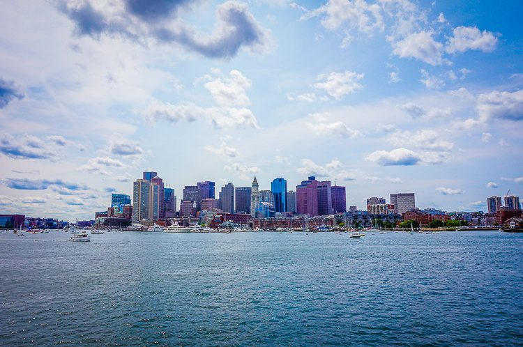 Boston from the harbor, looking dramatic.