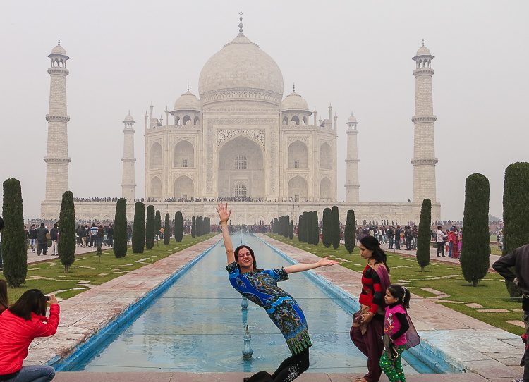 """Doing my signature """"L"""" backbend and almost hitting another tourist in the face."""
