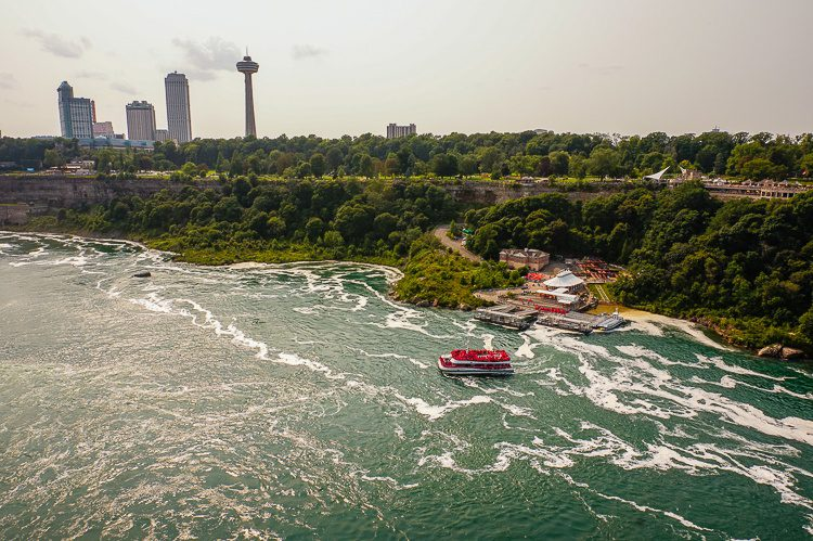 Tour boats chugging out of the Canadian side of the falls.
