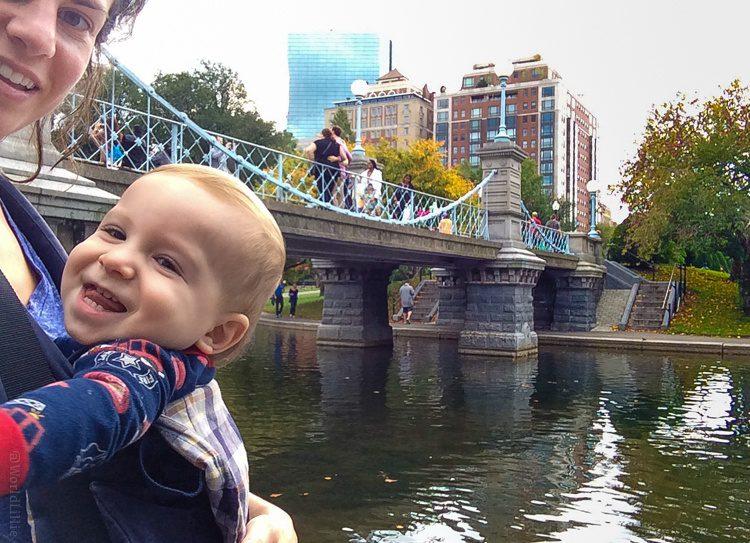 Giggling at the smallest suspension bridge in the world (where Colin proposed to me!) in the Boston Public Garden.