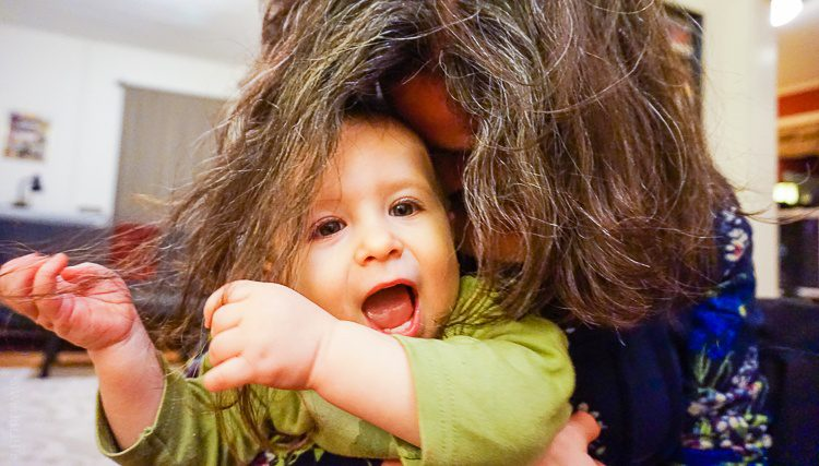 """""""I like pulling Mommy's hair no matter what color it is!"""""""