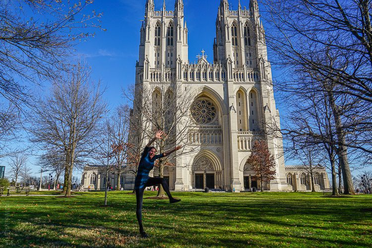 Flying across the National Cathedral.