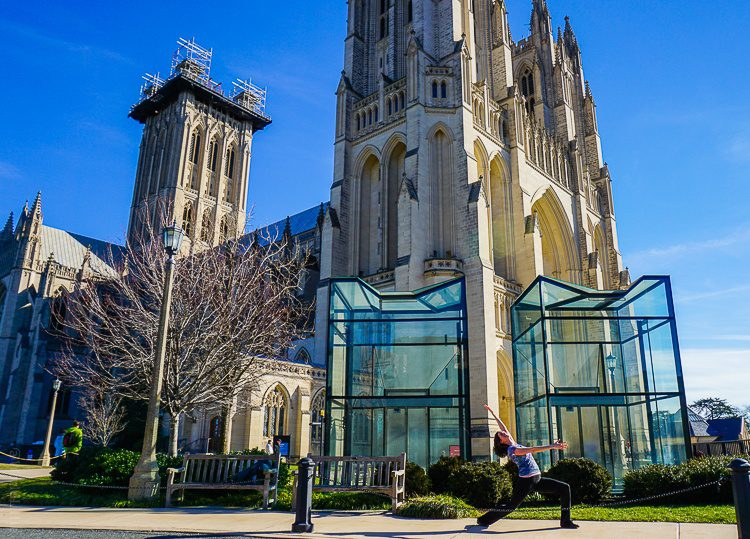 Cathedral yoga, with glass elevators in front.