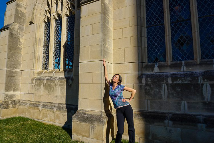 Fun with posing along the cathedral wall.