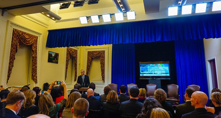 The White House Chief of Staff addressing the Travel Bloggers Summit on Study Abroad!